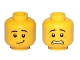 Part No: 3626cpb1879  Name: Minifigure, Head Dual Sided Black Eyebrows, White Pupils, Scared / Lopside Smile Pattern - Hollow Stud
