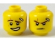 Part No: 3626cpb1889  Name: Minifigure, Head Dual Sided Reddish Brown Eyebrows, Medium Dark Flesh Scar, Bandage, Lopsided Grin with Teeth / Determined Pattern (Kai) - Hollow Stud