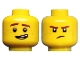Part No: 3626cpb1892  Name: Minifigure, Head Dual Sided Reddish Brown Eyebrows and Freckles, Lopsided Grin / Frown Pattern (Jay) - Hollow Stud
