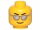 Part No: 3626cpb1933  Name: Minifigure, Head Glasses with Silver Sunglasses, Black Eyebrows Wavy, Thin Grin Pattern - Hollow Stud