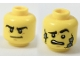 Part No: 3626cpb1961  Name: Minifigure, Head Dual Sided Black Eyebrows, Determined / Scared with Stone Cracks Pattern - Hollow Stud
