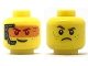 Part No: 3626cpb2036  Name: Minifigure, Head Dual Sided Smile with Silver Headset and Orange Head-Up Display (HUD) / Frown Pattern - Hollow Stud