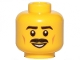 Part No: 3626cpb2054  Name: Minifigure, Head Moustache Black, Black Eyebrows, Brown Cheek Lines, Smile, White Pupils Pattern - Hollow Stud