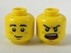 Part No: 3626cpb2080  Name: Minifigure, Head Dual Sided, Black Eyebrows, Brown Freckles, Smile / Angry Roar Pattern - Hollow Stud