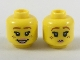 Part No: 3626cpb2086  Name: Minifigure, Head Dual Sided Female Dark Orange Eyebrows, Freckles, Pink Lips, Smile / Pursed Lips Pattern - Hollow Stud
