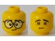 Part No: 3626cpb2133  Name: Minifigure, Head Dual Sided Large Black Round Glasses, Black Eyebrows / Sad Face with No Glasses Pattern - Hollow Stud