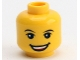 Part No: 3626cpb2172  Name: Minifigure, Head Black Eyebrows, White Pupils, Open Smile Pattern (LEGO Club Max) - Hollow Stud