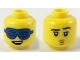 Part No: 3626cpb2247  Name: Minifigure, Head Dual Sided Blue Slotted Sunglasses, Lopsided Smile with Teeth / Left Raised Eyebrow, Small Mouth with Lips Pattern - Hollow Stud