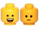 Part No: 3626cpb2268  Name: Minifigure, Head Dual Sided Open Smile with Tongue / Sad Pattern (Emmet) - Hollow Stud
