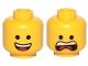 Part No: 3626cpb2278  Name: Minifigure, Head Dual Sided Open Smile with Tongue / Open Mouth Scream Pattern (Emmet) - Hollow Stud