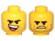 Part No: 3626cpb2303  Name: Minifigure, Head Dual Sided Black Eyebrows, Stubble, Open Smile, Tongue / Angry Pattern (Rex Dangervest) - Hollow Stud