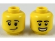 Part No: 3626cpb2308  Name: Minifigure, Head Dual Sided, Black Eyebrows, Lopsided Grin Pattern / Smile Showing Teeth - Hollow Stud
