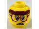 Part No: 3626cpb2310  Name: Minifigure, Head Female, Reddish Brown Headband, Dark Red Glasses, White Cat Whiskers, Scowling Pattern - Hollow Stud