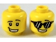 Part No: 3626cpb2312  Name: Minifigure, Head Dual Sided, Black Eyebrows Left Raised, Lopsided Smile, Black Eyes / Sunglasses Pattern - Hollow Stud