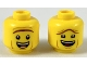 Part No: 3626cpb2315  Name: Minifigure, Head Dual Sided, Reddish Brown Unibrow, Open Mouth Smile, Raised Unibrow / Lowered Unibrow Pattern (President Business) - Hollow Stud
