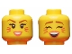 Part No: 3626cpb2318  Name: Minifigure, Head Dual Sided Female, Reddish Brown Eyebrows, Magenta Cat Whiskers, Coral Lips, Smiling / Singing with Closed Eyes Pattern - Hollow Stud