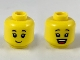 Part No: 3626cpb2324  Name: Minifigure, Head Dual Sided Female, Black Eyebrows, Grin / Open Mouth Smile Pattern - Hollow Stud