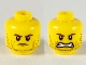 Part No: 3626cpb2330  Name: Minifigure, Head Dual Sided Male Stubble, Cheek Lines, Reddish Brown Eyebrows, Frown / Open Mouth Grimace Pattern - Hollow Stud
