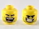 Part No: 3626cpb2361  Name: Minifigure, Head Dual Sided Black Eyebrows, Stubble, Closed Eyes and Wide Open Mouth / Lopsided Grin with Teeth Pattern (Rex Dangervest) - Hollow Stud