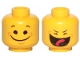Part No: 3626cpb2373  Name: Minifigure, Head Dual Sided Black Eyes, Eyebrows, Wide Closed Mouth Smile / Closed Eyes, Smile with Tongue Pattern (Benny) - Hollow Stud