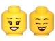 Part No: 3626cpb2379  Name: Minifigure, Head Dual Sided Female Black Eyebrows, Eyelashes, Medium Nougat Lips, Smile, Teeth, Open Eyes / Closed Eyes Pattern - Hollow Stud