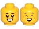 Part No: 3626cpb2380  Name: Minifigure, Head Dual Sided Black Eyebrows, Big Smile, Teeth, Open Eyes / Closed Eyes Pattern - Hollow Stud