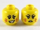 Part No: 3626cpb2425  Name: Minifigure, Head Dual Sided Female, Red Whiskers, Sharp Teeth, Frown / Crooked Smile Pattern - Hollow Stud