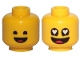 Part No: 3626cpb2429  Name: Minifigure, Head Dual Sided Black Standard Eyes, Smile with Tongue / Eyes with Heart Shape Pupils Pattern (Benny) - Hollow Stud