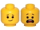 Part No: 3626cpb2431  Name: Minifigure, Head Dual Sided Lopsided Smile / Open Mouth Scared, Raised Eyebrows Pattern (Emmet) - Hollow Stud