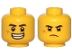 Part No: 3626cpb2441  Name: Minifigure, Head Dual Sided Black Eyebrows, Cut on Cheek, Large Smile with Teeth / Grumpy Pattern - Hollow Stud