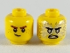 Part No: 3626cpb2446  Name: Minifigure, Head Dual Sided Reddish Brown Eyebrows, White Pupils, Lopsided Smile / Black Eyebrows, Flat Silver Eyes, Energy, Angry Pattern (Jay) - Hollow Stud