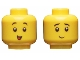 Part No: 3626cpb2472  Name: Minifigure, Head Dual Sided, Black Eyebrows, Small Open Smile / Small Closed Smile Pattern - Hollow Stud