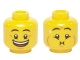 Part No: 3626cpb2491  Name: Minifigure, Head Dual Sided Eyebrows, Crow's Feet, Open Mouth Big Smile / Queasy Expression with Sweat Drop Pattern - Hollow Stud