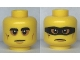 Lot ID: 242769537  Part No: 3626cpb2525  Name: Minifigure, Head Dual Sided Black Eyebrows and Mole, Medium Nougat Cheek Lines, Baggy Eyes / Frown with Black Mask Pattern - Hollow Stud