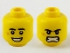 Part No: 3626cpb2574  Name: Minifigure, Head Dual Sided Black Eyebrows, Cheek Scar, Large Smile with Teeth / Angry Pattern - Hollow Stud