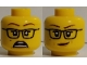 Part No: 3626cpb2588  Name: Minifigure, Head Dual Sided Female, Glasses, Scared / Crooked Smile Pattern - Hollow Stud