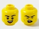 Part No: 3626cpb2610  Name: Minifigure, Head Dual Sided Black Eyebrows, Medium Nougat Cheek Lines, Smile Showing Teeth / Singing with Eyes Closed Pattern - Hollow Stud