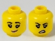 Part No: 3626cpb2615  Name: Minifigure, Head Dual Sided Female, Black Eyebrows, Bright Pink Lips, Lopsided Grin / Sneer Pattern - Hollow Stud