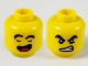Part No: 3626cpb2616  Name: Minifigure, Head Dual Sided Black Thick Eyebrows, Closed Eyes and Open Mouth / Fierce Pattern - Hollow Stud
