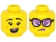 Part No: 3626cpb2635  Name: Minifigure, Head Dual Sided Female Lavender Lips, Black Eyebrows, Freckles, Open Mouth with Teeth, Smile / Angry with Glasses Pattern - Hollow Stud