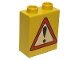 Part No: 4066pb051  Name: Duplo, Brick 1 x 2 x 2 with Road Sign Exclamation Point Pattern