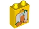 Part No: 4066pb191  Name: Duplo, Brick 1 x 2 x 2 with Oranges and Glass of Orange Juice with Green Straw Pattern
