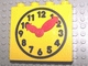 Part No: 4145c01pb01  Name: Duplo, Brick 1 x 4 x 3 with Movable Red Hands and Black and Yellow Clock Face Pattern