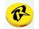Part No: 4150pb040  Name: Tile, Round 2 x 2 with Black R Outline (Robin Logo) Pattern (Sticker) - Set 7885