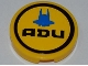 Part No: 4150pb098  Name: Tile, Round 2 x 2 with Interceptor Shuttle Outline and 'ADU' Pattern (Sticker) - Set 7066