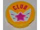 Part No: 4150pb134  Name: Tile, Round 2 x 2 with 'CLUB' and Magenta Star on Butterfly Wings Pattern (Sticker) - Set 3063