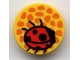 Part No: 4150px26  Name: Tile, Round 2 x 2 with Orange Dots (Flower Center) and Red Ladybug Pattern (Belville)