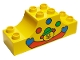 Part No: 4197pb007  Name: Duplo, Brick 2 x 6 x 2 Curved Ends with Clown and Three Balls Pattern