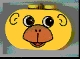 Part No: 4198pb04  Name: Duplo, Brick 2 x 4 x 2 Rounded Ends with Monkey Face Pattern