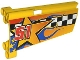 Part No: 44350pb013  Name: Technic, Panel Fairing #20 Large Long, Small Hole, Side A with Checkered Flag, Stars, Blue Flames and '51' Pattern (Sticker) - Set 8651